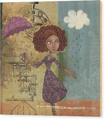 Umbrella Girl Wood Print by Karyn Lewis Bonfiglio