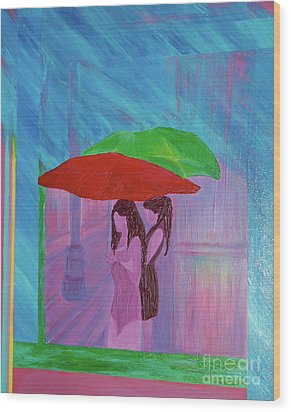 Wood Print featuring the painting Umbrella Girls by First Star Art