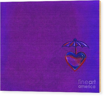 Umbrella Heart Wood Print
