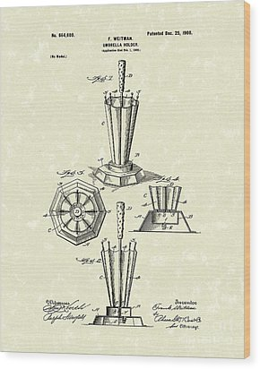 Umbrella Holder 1900 Patent Art Wood Print by Prior Art Design