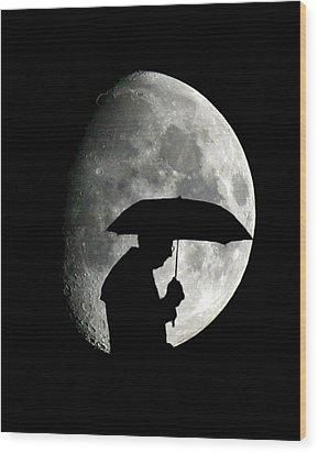 Umbrella Man With Moon Wood Print