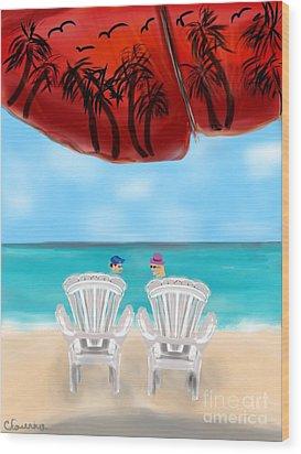 Umbrella View Wood Print by Christine Fournier