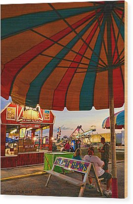Umbrella View Wood Print by Grace Dillon