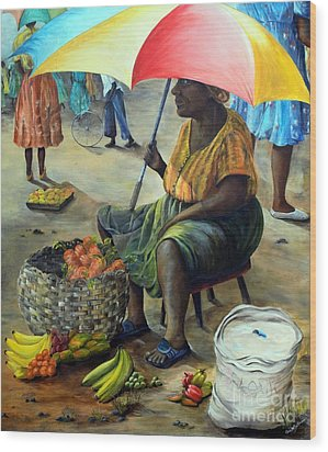 Umbrella Woman Wood Print