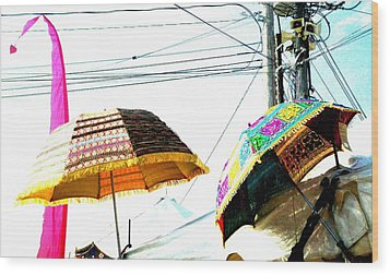 Wood Print featuring the photograph Umbrellas And Wires by Marianne Dow