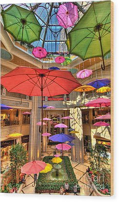 Umbrellas At Palazzo Shops Wood Print by Amy Cicconi