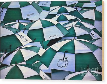 Umbrellas At The Masters Wood Print by Walt Foegelle