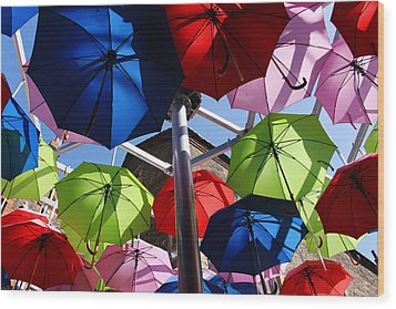 Umbrellas In The Sky Wood Print