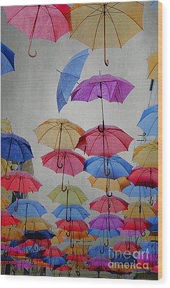 Umbrellas Wood Print by Jelena Jovanovic