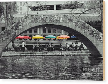 Umbrellas Of Many Colors Wood Print by John Kain