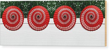 Umbrellas On A Fence Wood Print by Amy Cicconi