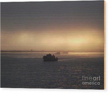 Umpqua River Sunrise Wood Print by Erica Hanel