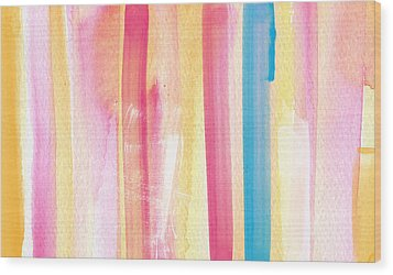 Umrbrella Stripe- Contemporary Abstract Painting Wood Print by Linda Woods