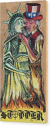 Uncle Sam Wood Print by David Shumate
