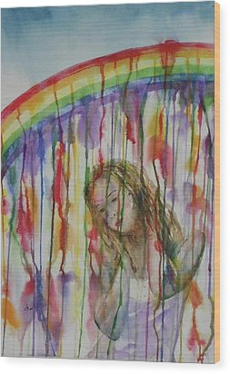 Wood Print featuring the painting Under A Crying Rainbow by Anna Ruzsan