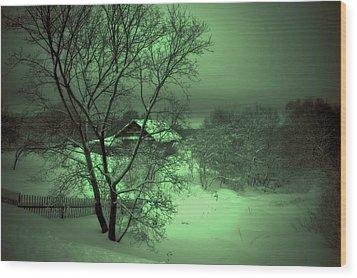 Under Green Moon Wood Print by Jenny Rainbow