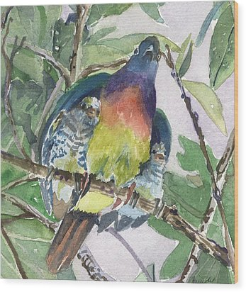 Under Her Wings Wood Print by Mindy Newman