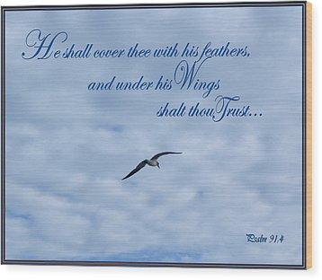 Under His Wings Wood Print by Larry Bishop