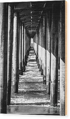 Under Huntington Beach Pier Black And White Picture Wood Print by Paul Velgos
