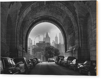 New York City - Manhattan Bridge - Under Wood Print by Dave Beckerman