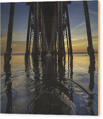 Under The Oceanside Pier 2 Wood Print by Larry Marshall