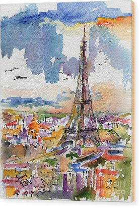 Under Paris Skies Eiffel Tower Wood Print