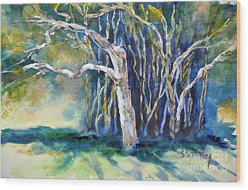 Wood Print featuring the painting Under The Banyan Tree by Sally Simon