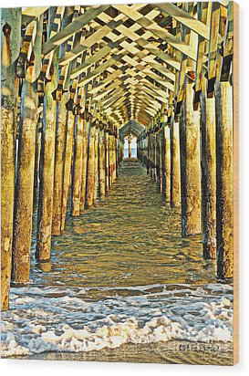 Under The Boardwalk - Hdr Wood Print by Eve Spring