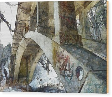 Under The Bridge  Wood Print by Janine Riley