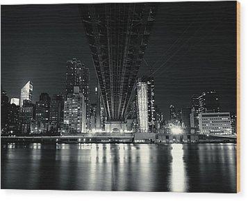 Under The Bridge - New York City Skyline And 59th Street Bridge Wood Print by Vivienne Gucwa
