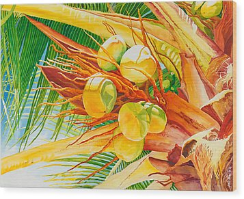 Under The Coconut Palm Wood Print by Janis Grau