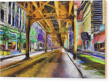 Under The El - 20 Wood Print