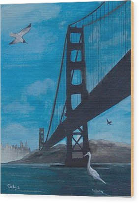 Under The Golden Gate Bridge Wood Print
