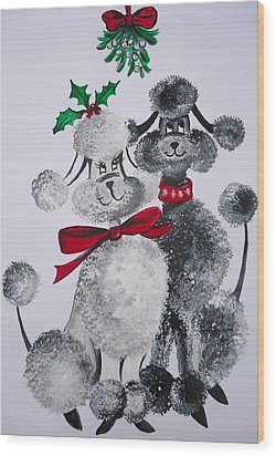 Wood Print featuring the painting Under The Mistletoe by Leslie Manley