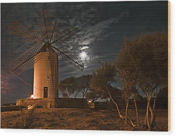 Vintage Windmill In Es Castell Villacarlos George Town In Minorca -  Under The Moonlight Wood Print