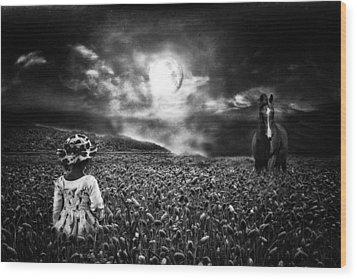 Under The Moonlight Wood Print by Sabine Peters