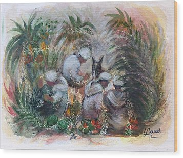 Wood Print featuring the painting Under The Palm Trees At The Oasis by Laila Awad Jamaleldin