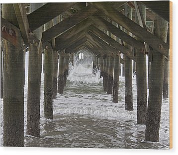 Under The Pawleys Island Pier Wood Print by Sandra Anderson