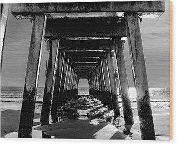 Wood Print featuring the photograph Under The Pier by Frank Bright