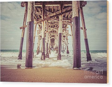 Under The Pier In Orange County California Picture Wood Print by Paul Velgos