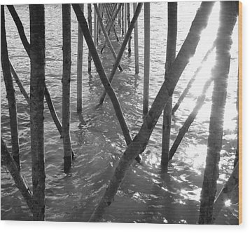 Wood Print featuring the photograph Under The Pier by Ramona Johnston