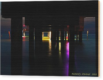 Wood Print featuring the photograph Under The Pier by Richard Zentner