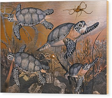 Under The Red Sea Wood Print by Betsy Knapp