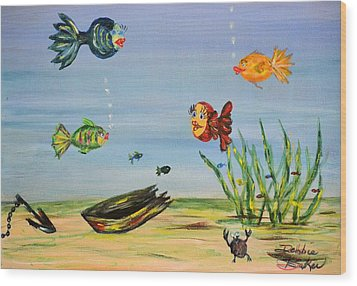 Wood Print featuring the painting Under The Sea by Debbie Baker