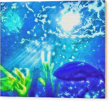 Under The Sea Illumination Wood Print by Tracie Kaska