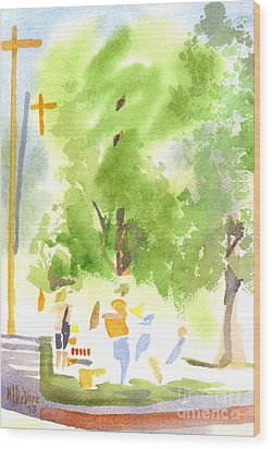 Under The Shade Trees Farmers Market Iv Wood Print by Kip DeVore