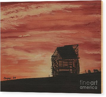 Wood Print featuring the painting Under The Sunset by Stanza Widen