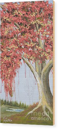 Under The Tree With Gold Leaf By Vic Mastis Wood Print by Vic  Mastis