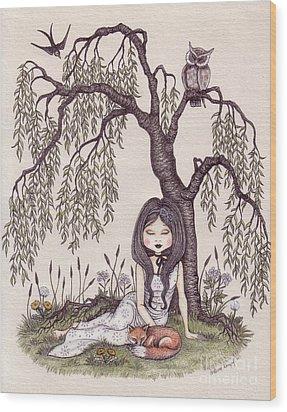 Under The Willow Tree Wood Print by Snezana Kragulj