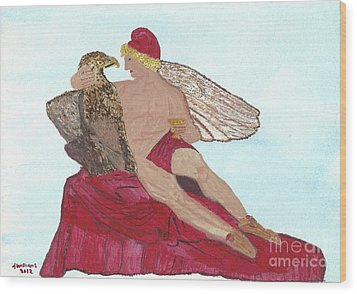 Wood Print featuring the painting Under The Wings Of Love by Tracey Williams